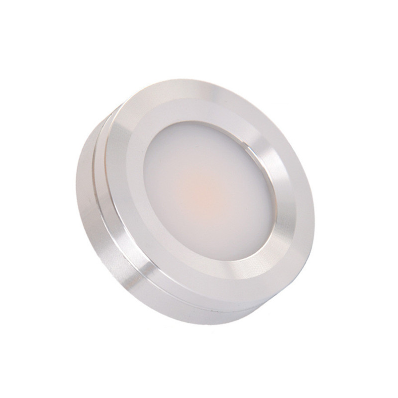 3W COB AC220V LED Puck Lights Triac Dimmable LED Cabinet Lights Surface Mounted Silver Color